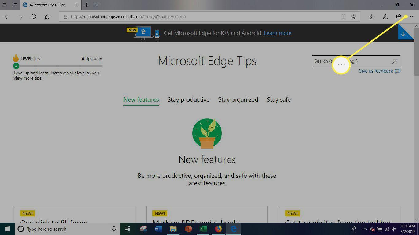 Microsoft Edge Options Menu