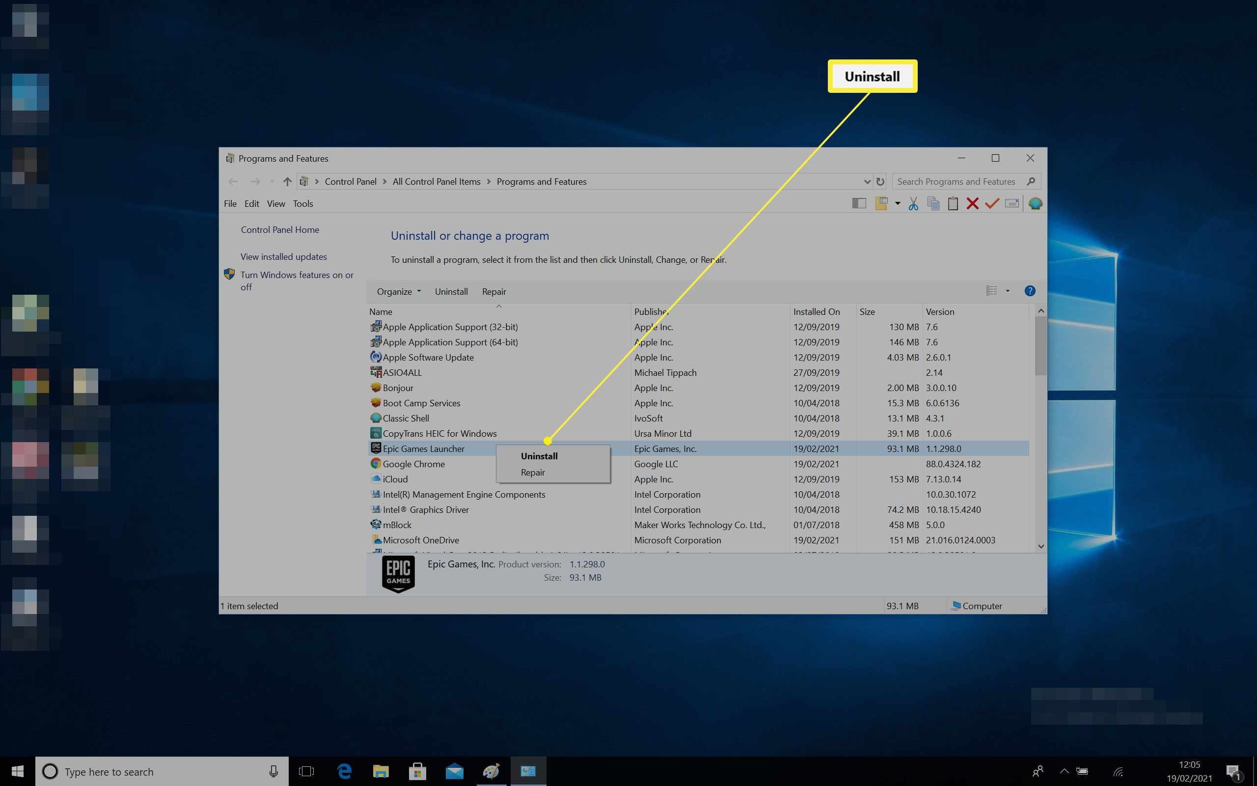 Uninstall dialog option open for uninstalling the Epic Games Launcher