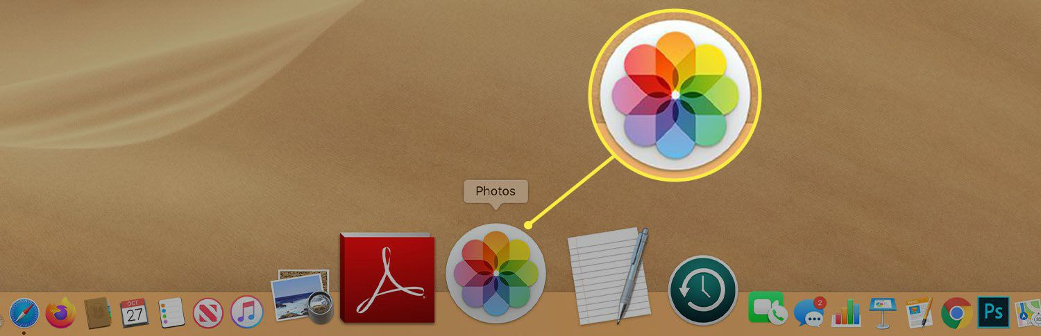 The Photos app icon in the Mac Dock