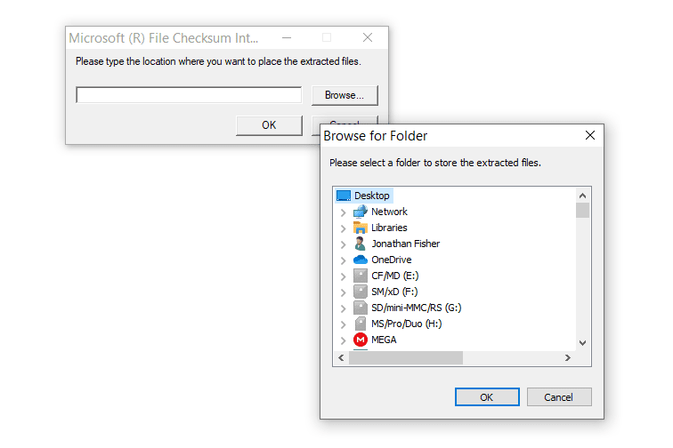 Browse for Folder box with Desktop selected