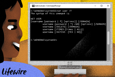 Person using the Net User command on a computer