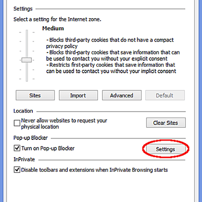 IE11 privacy options screenshot