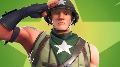 Fortnite video game character saluting.