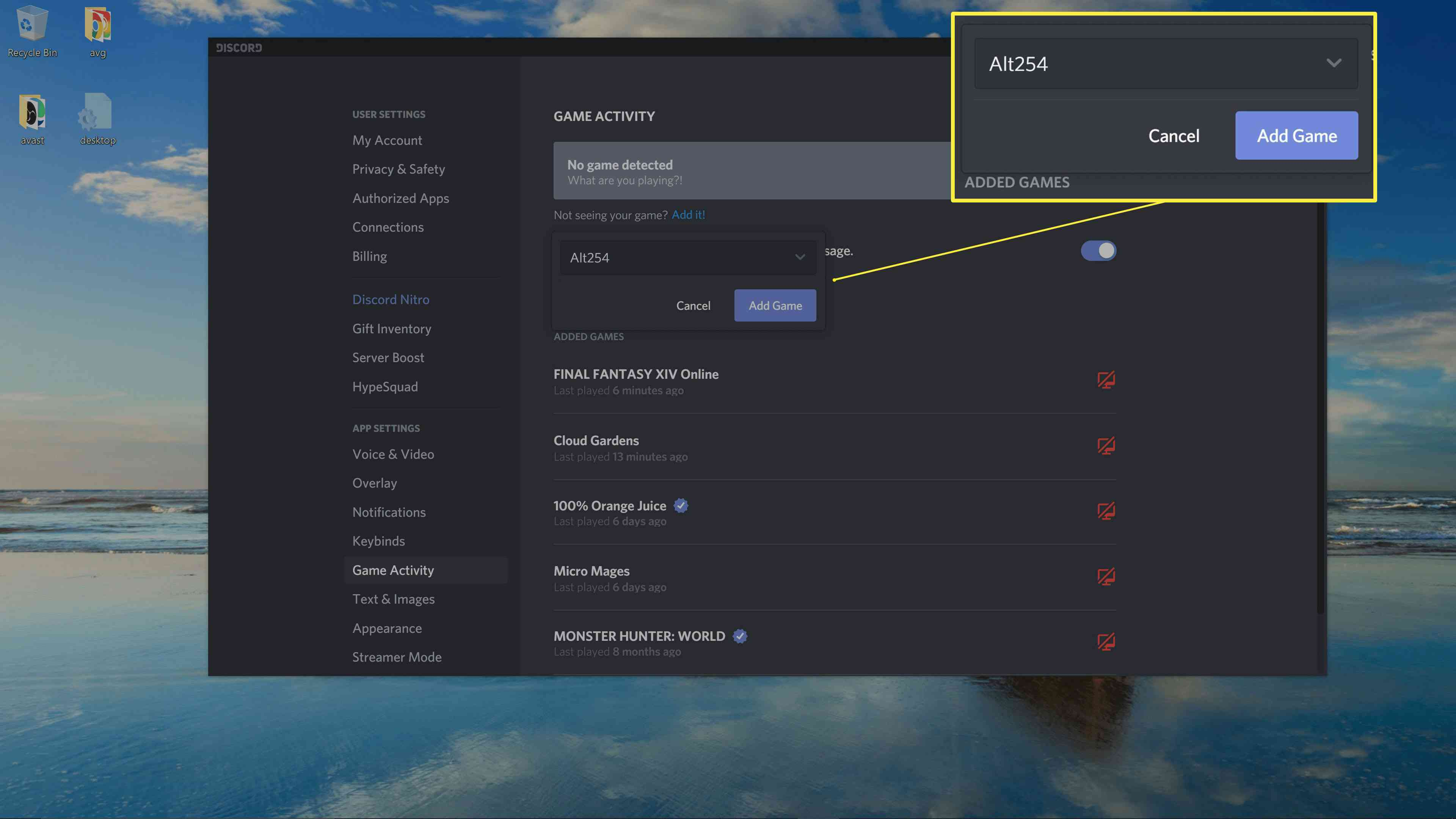 Where to add a game in Discord's preferences.