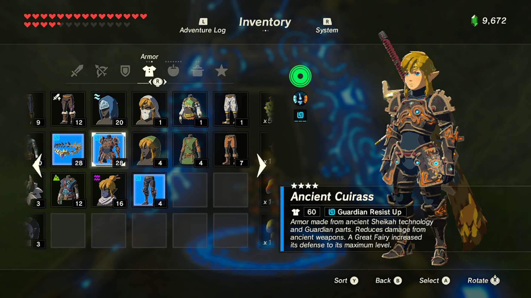 Screenshot of the Breath of the Wild inventor showing ancient armor