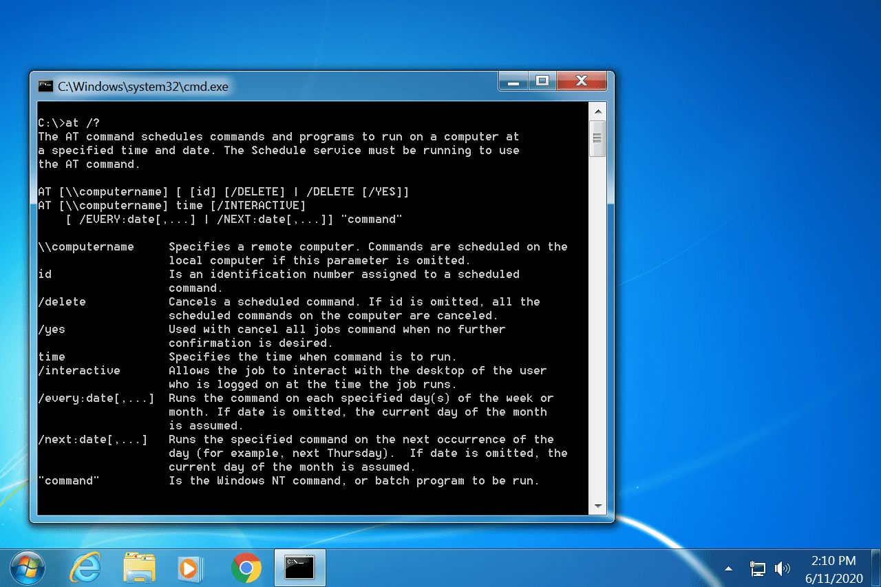 Windows 7 AT command in Command Prompt