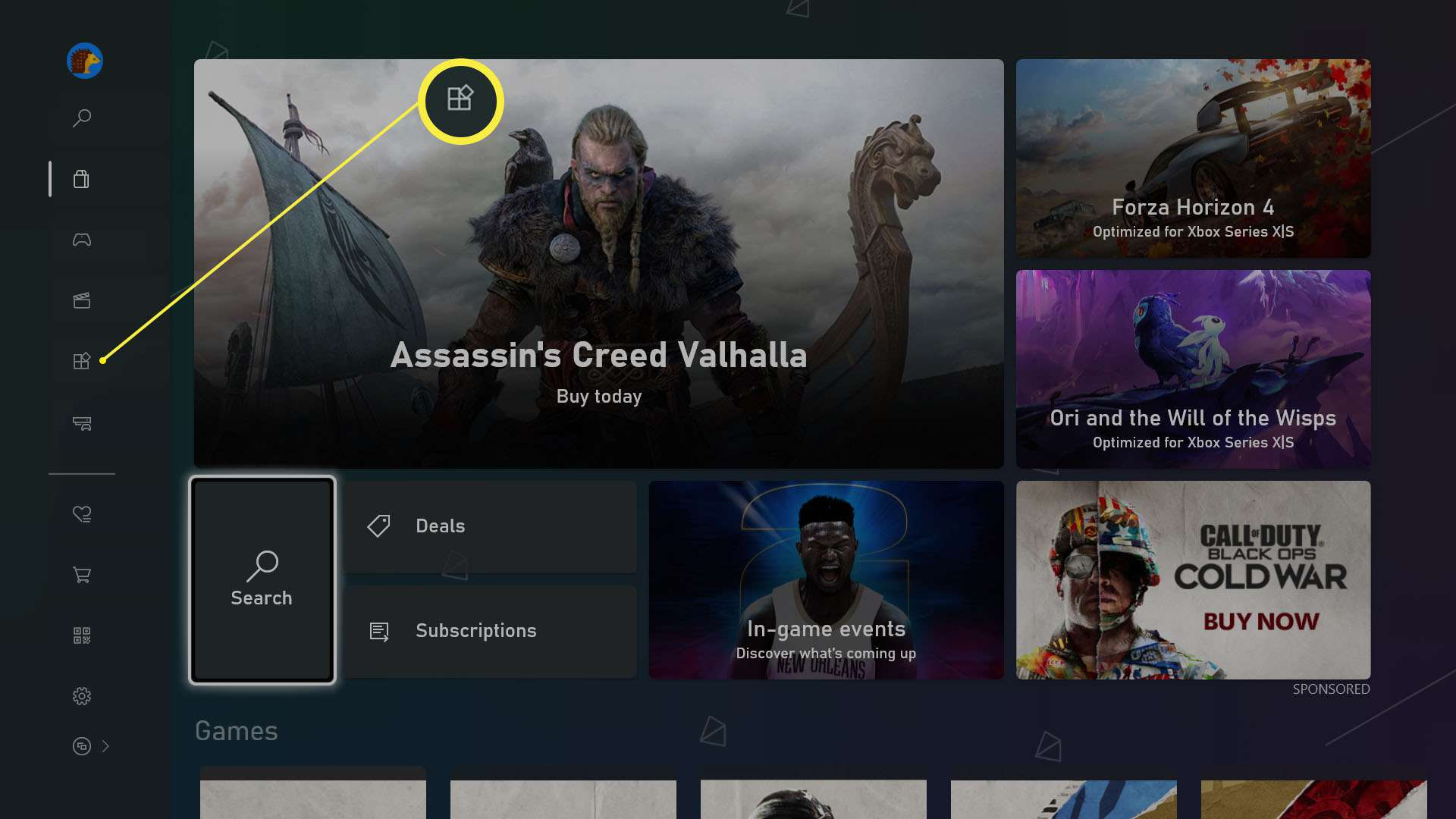 Xbox Series X store with Apps highlighted