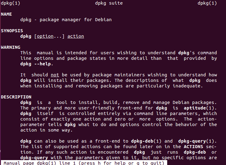 Command line showing dpkg package manager for Debian