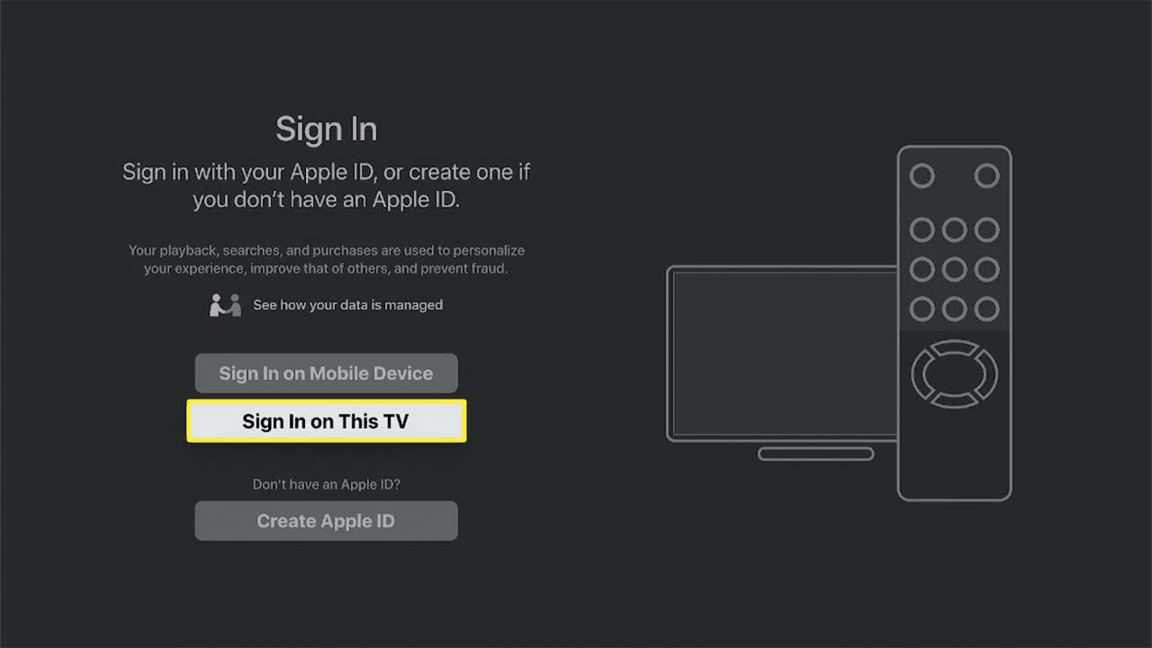 Sign in on This TV highlighted in the Apple TV app.