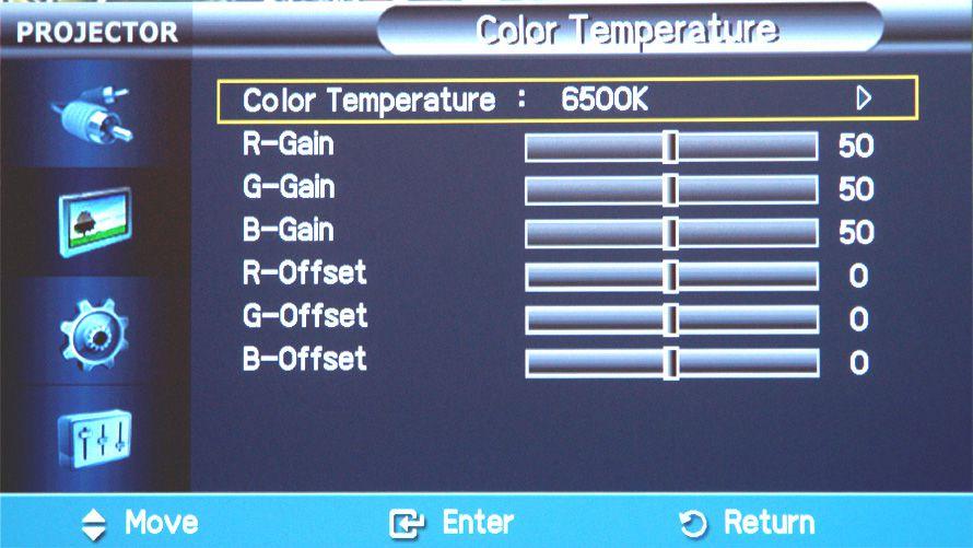Samsung SP-A800B 1080p DLP Video Projector - Onscreen Menu - Color Temperature