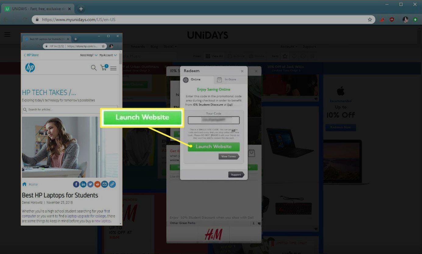Unidays Launch Website button