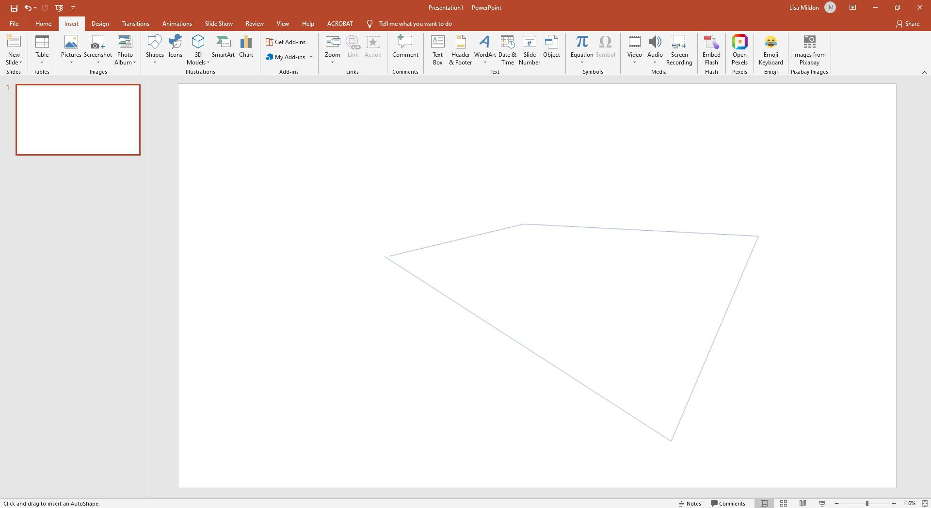 Drawing a custom shape using the Freeform tool in Powerpoint