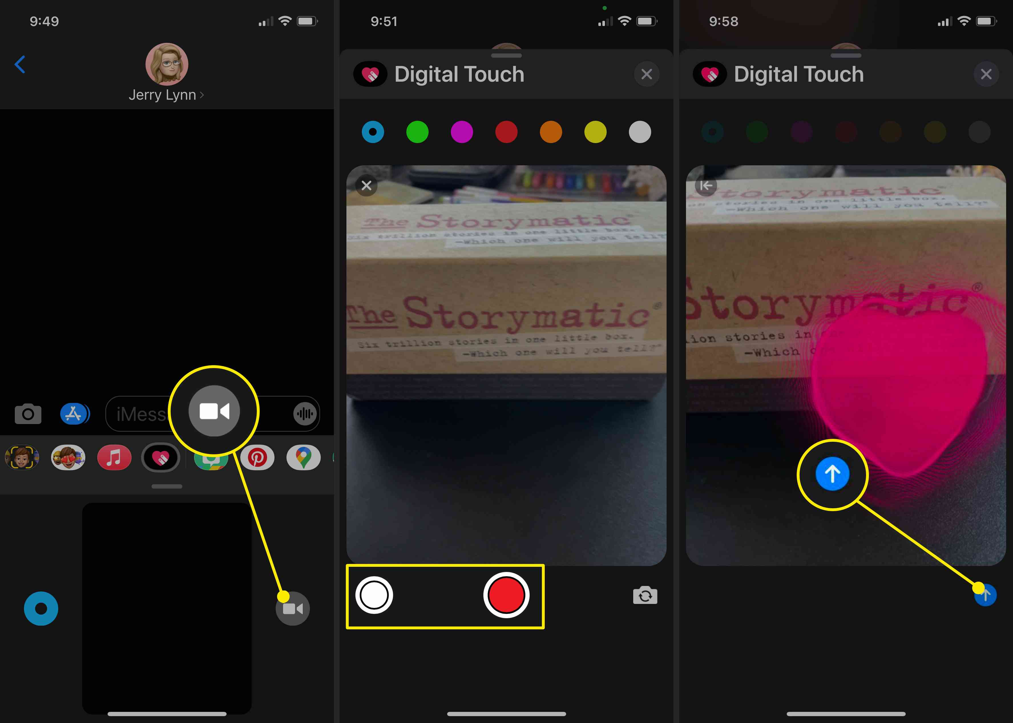 Screenshots of adding Digital Touch effects to photos and videos in iMessage.