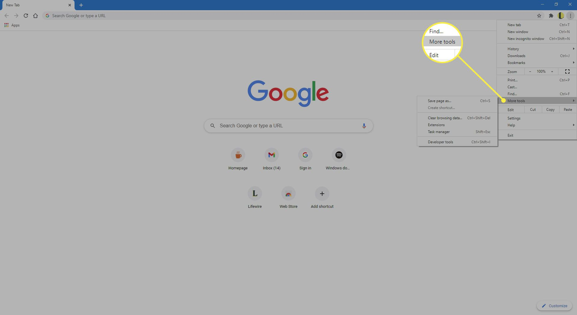 More Tools in Chrome.