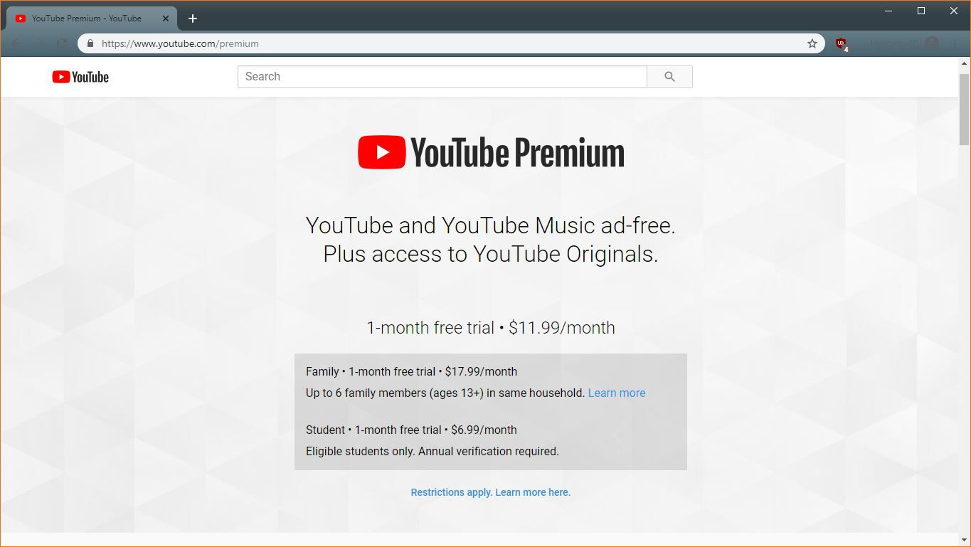 a2f97ab46 A screenshot of the YouTube Premium student discount.