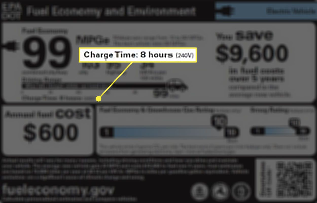 A car sticker showing an estimated time for charging an EV at Level 2 charging capacity.