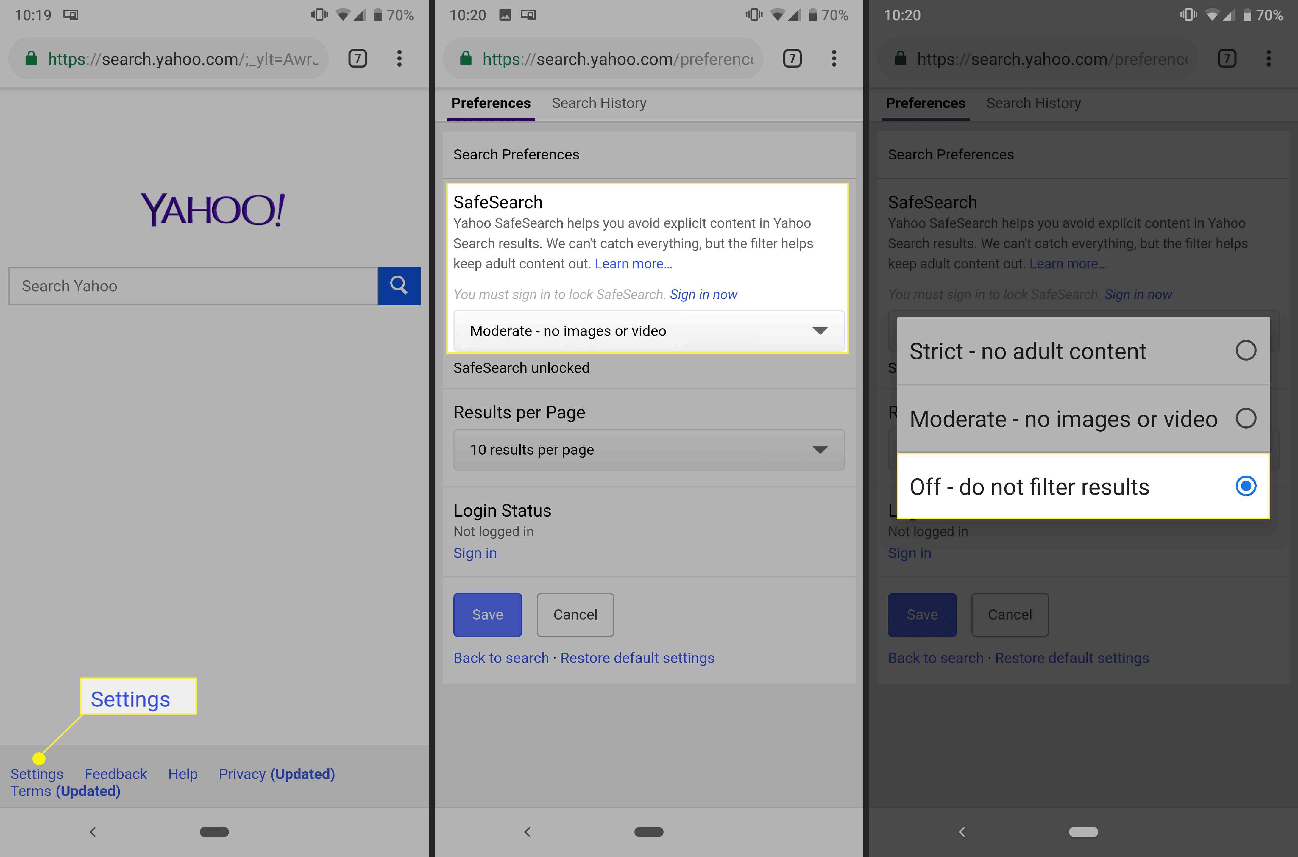 Turning off Yahoo safe search on Android/iPhone