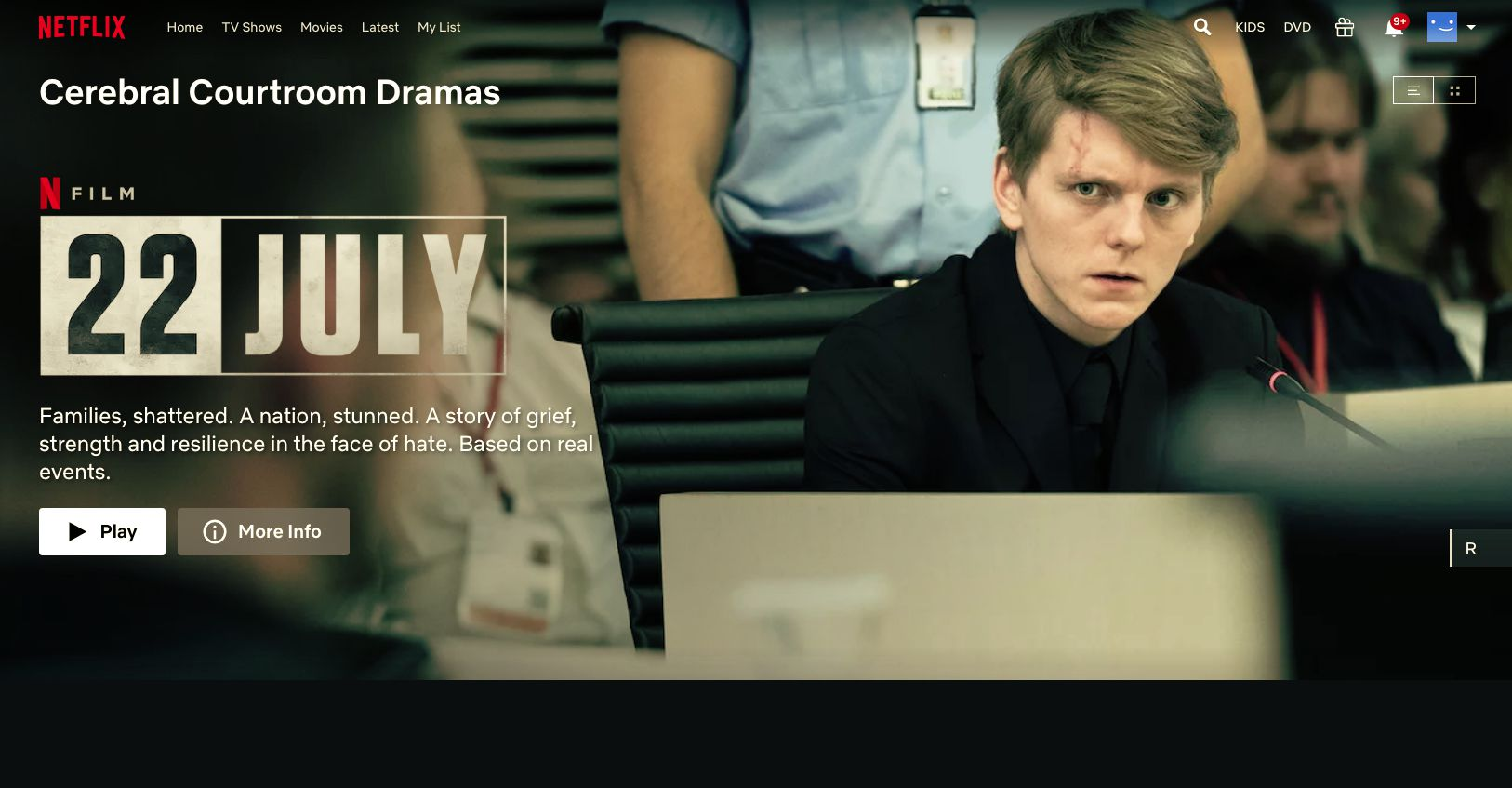 Netflix secret codes for courtroom drama movies like 22 July