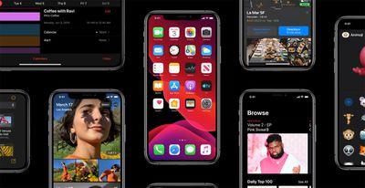 An array of iOS 13 screenshots on iPhones