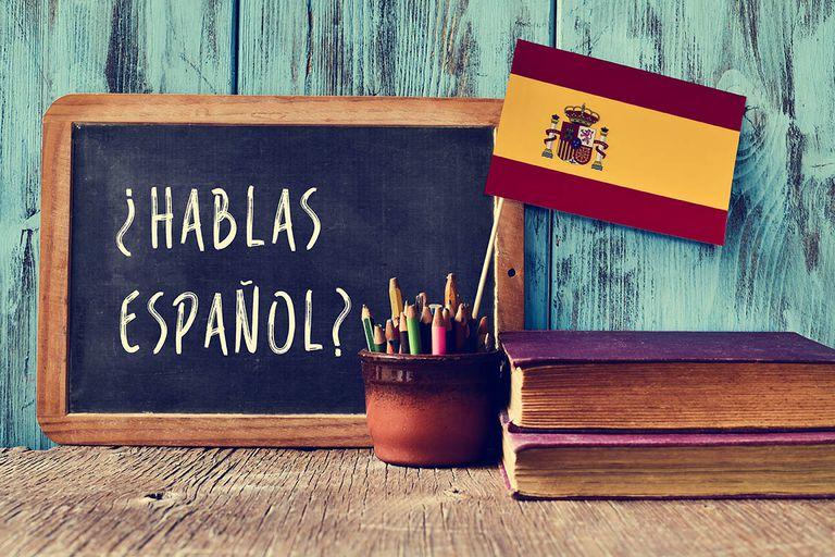Spanish language on a chalkboard