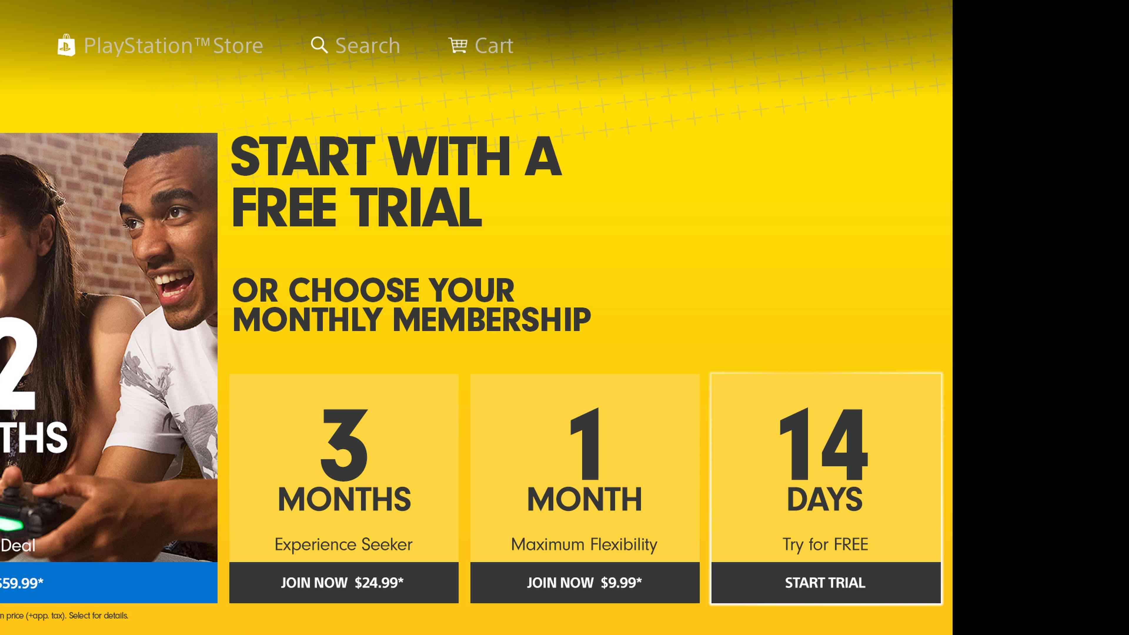 A screenshot of PS Plus subscription options.