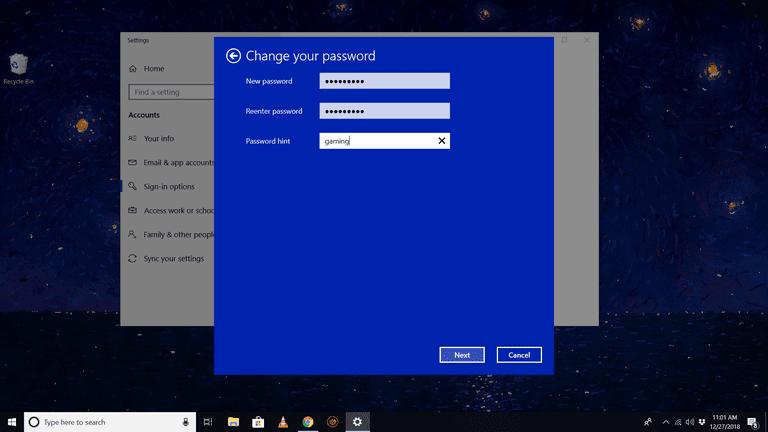 Change your password dialog in Windows 10