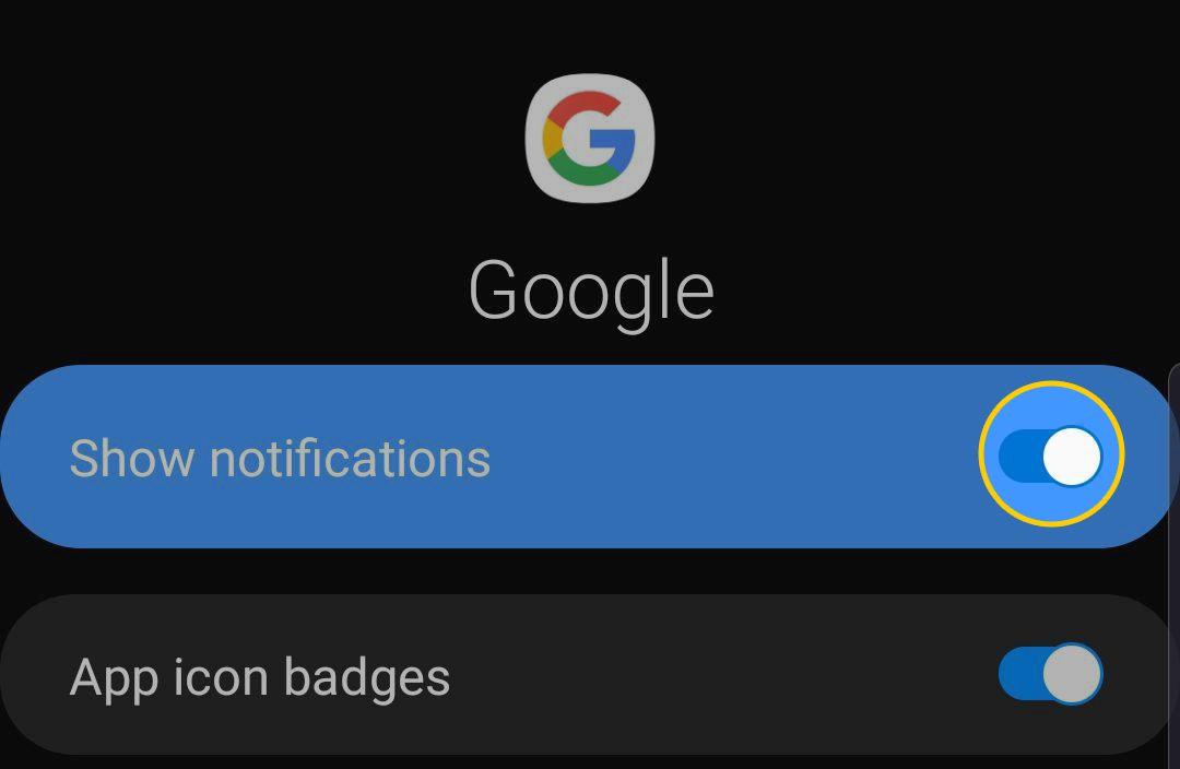 Google App Show Notifications Switch