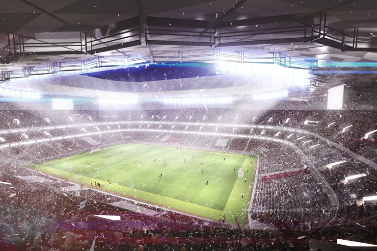 A rendering of the 2022 World Cup Finals in Qatar.