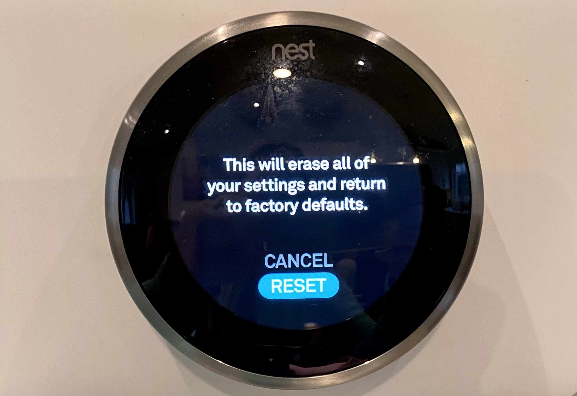 The menu on the Nest thermostat to reset it.