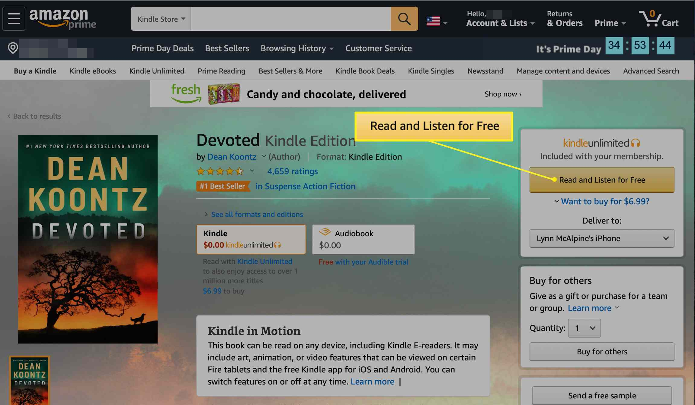 Read for Free button in Kindle Unlimited account