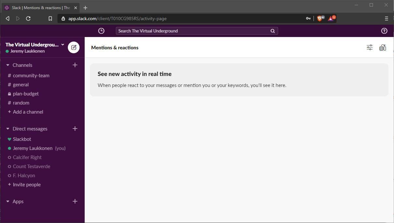 A screenshot of Slack.