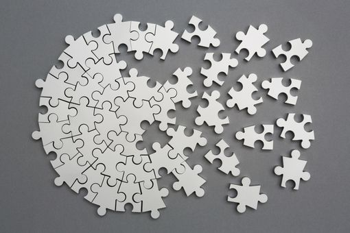 Radiating silver metal puzzle, half assembled