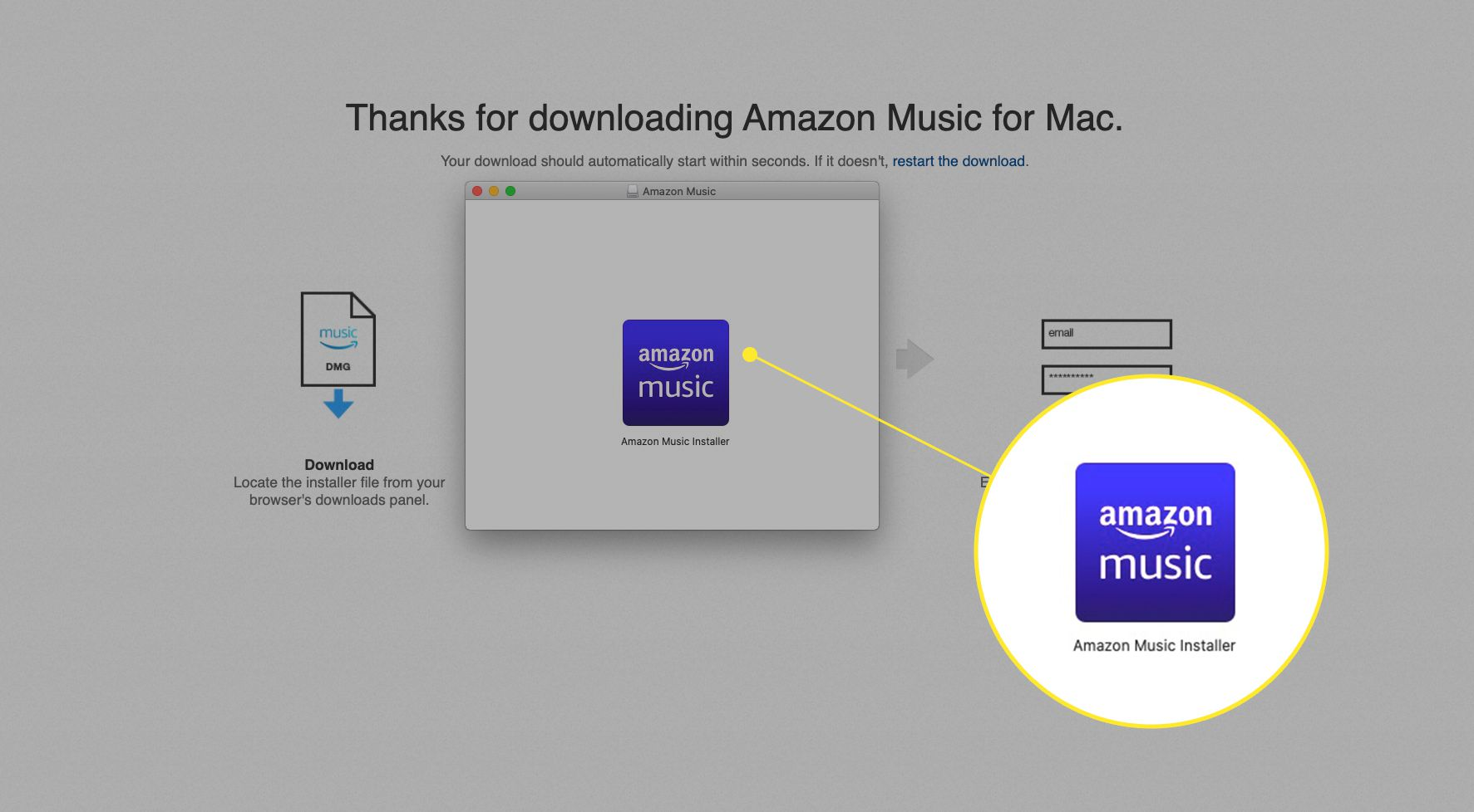 Amazon Music web app installer with install file highlighted