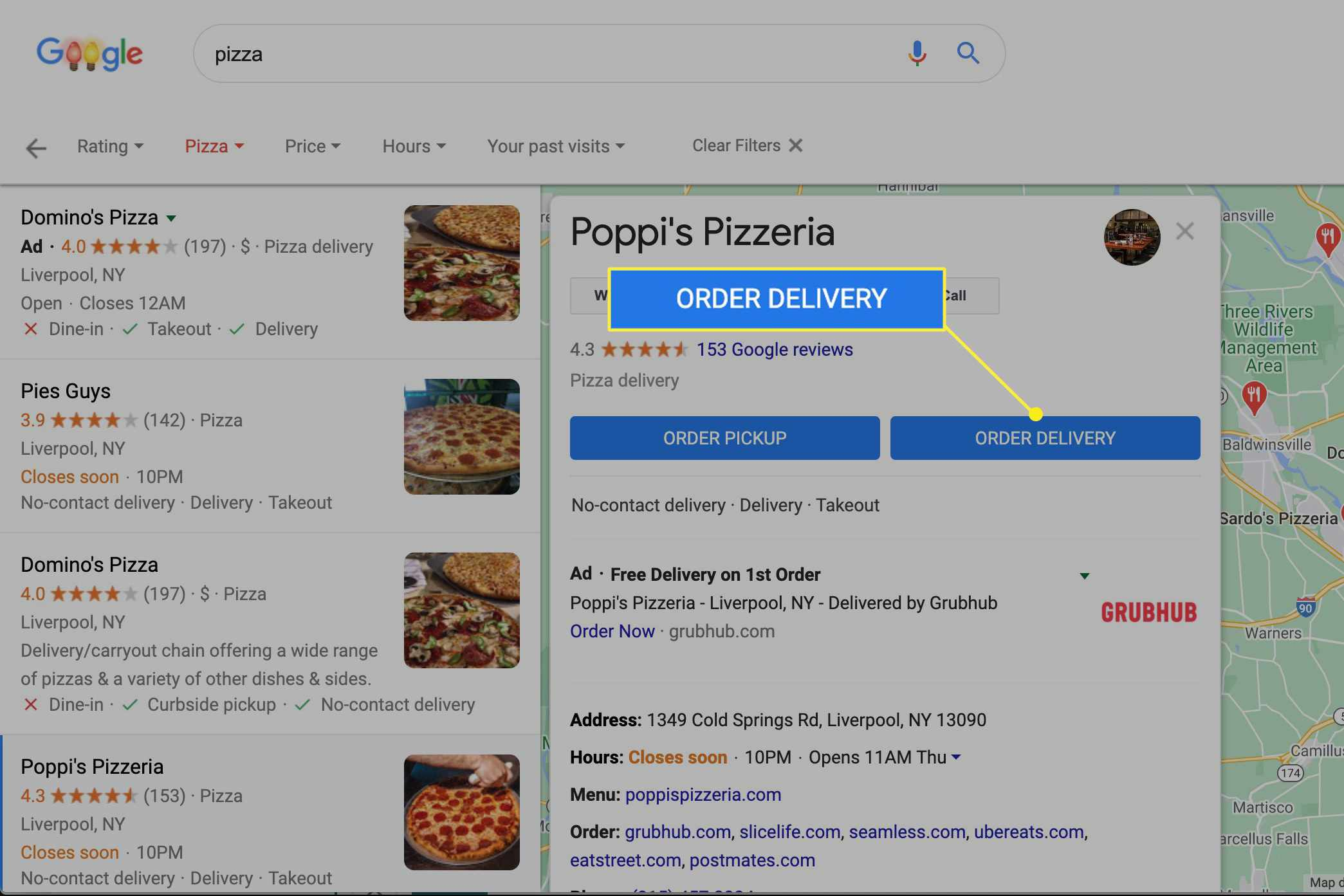 Order Delivery button