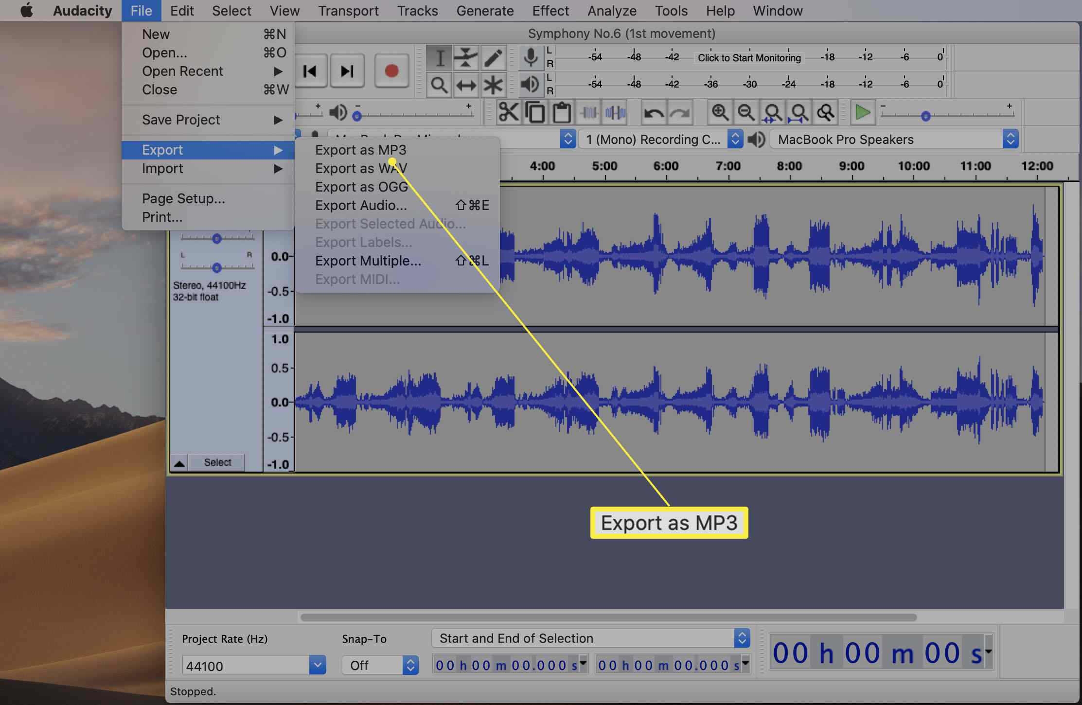 Audacity app with Export as MP3 highlighted