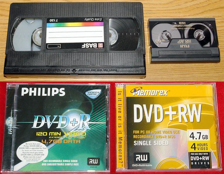 VHS, Hi8 Video Cassettes, Rcordable DVDs