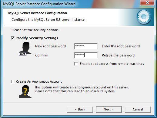 MySQL create a password screen