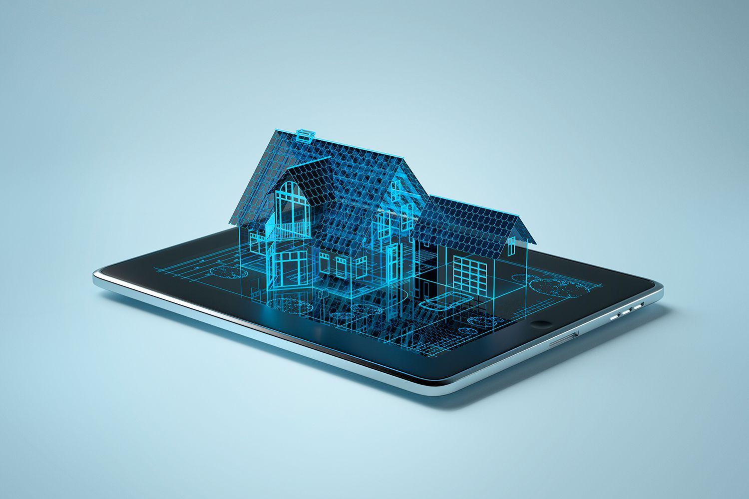 Family house outline sitting on iPad-like tablet