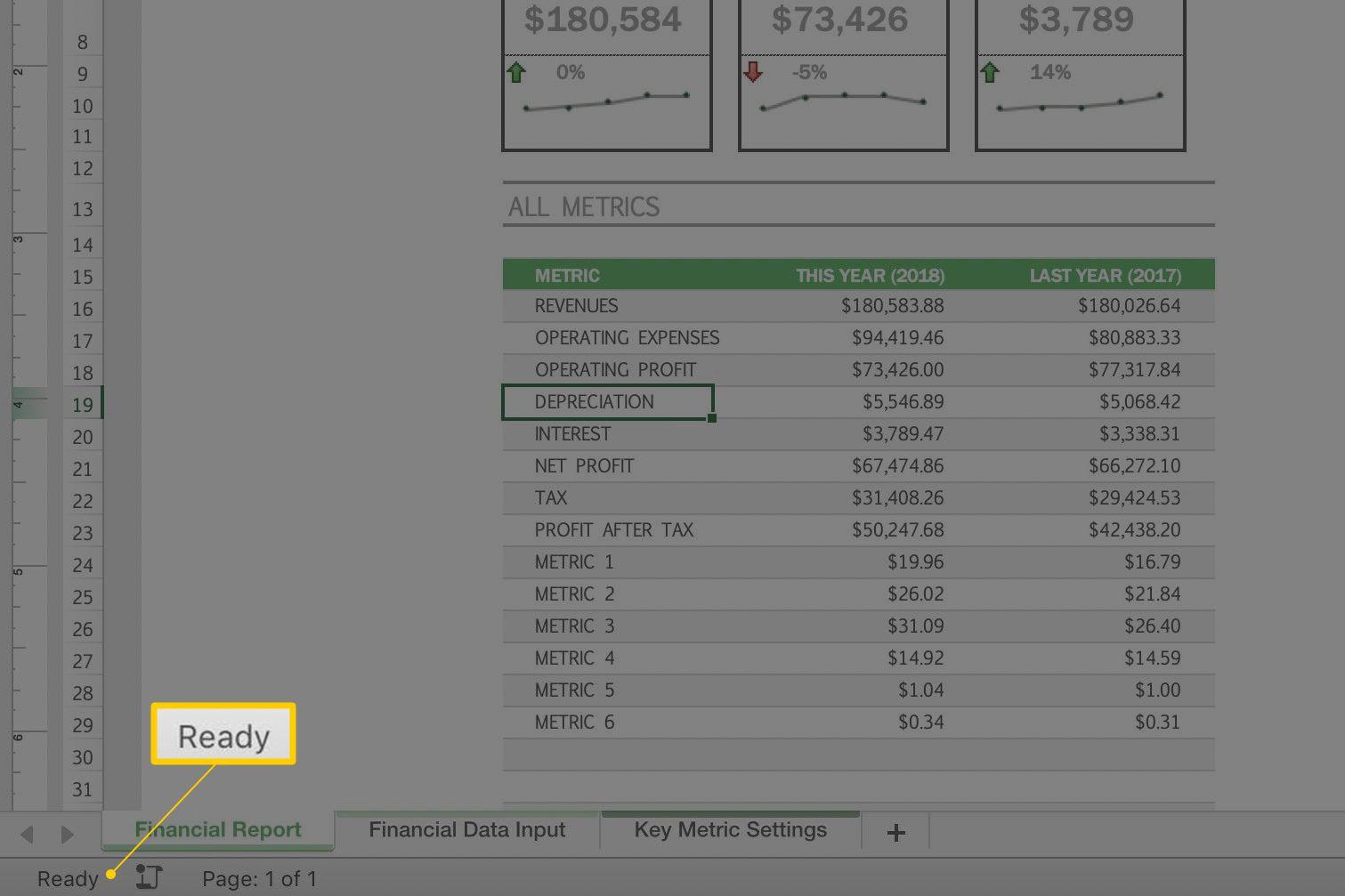 Cell Status indicator in Excel status bar