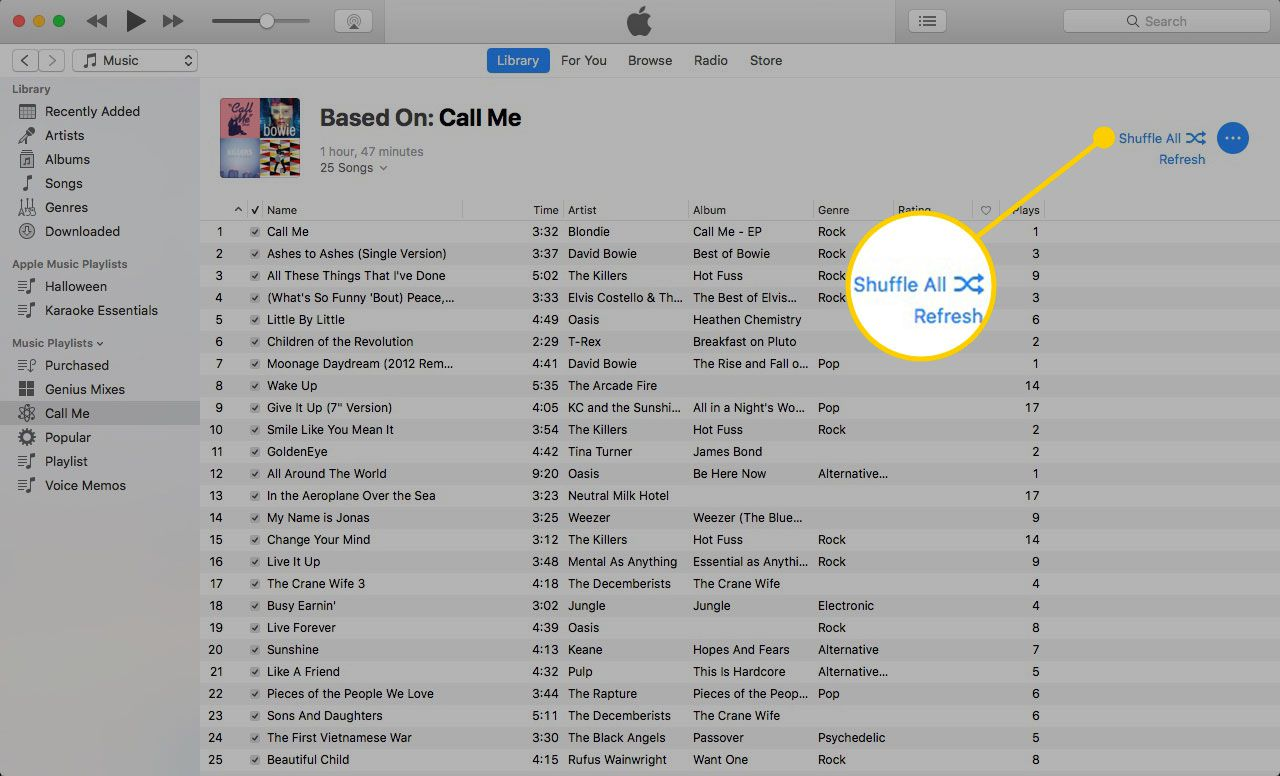 Shuffle All button in an iTunes Genius playlist