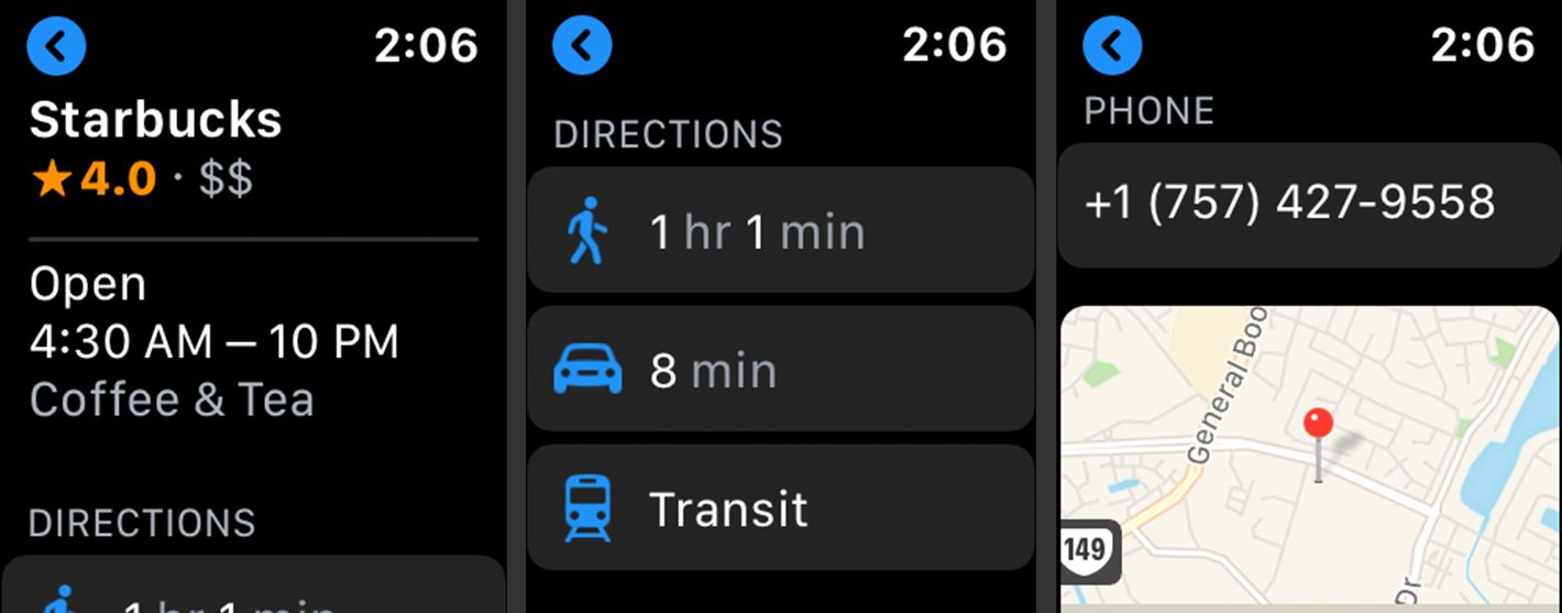Information screens for a destination in Maps on Apple Watch