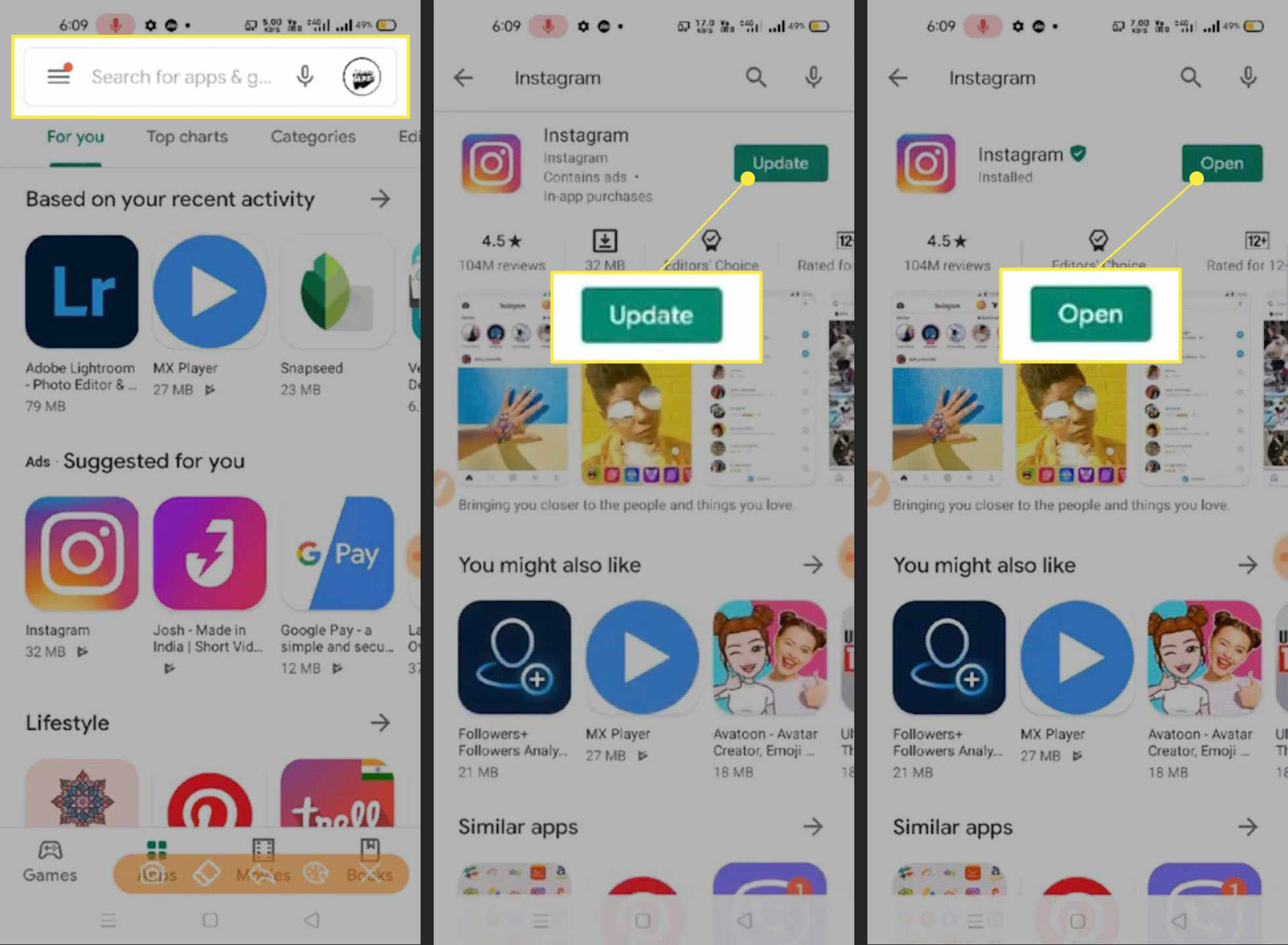 Steps to update Instagram app on Android with the search field,