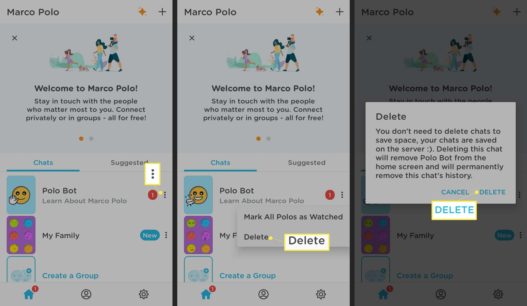 How to Delete an Entire Chat Conversation on marco polo