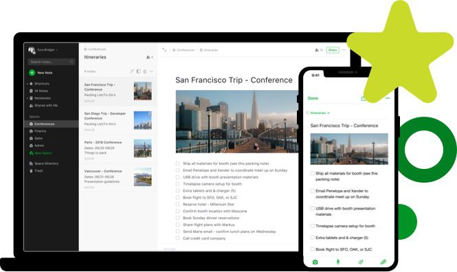 Evernote on phone and computer with San Francisco notes open