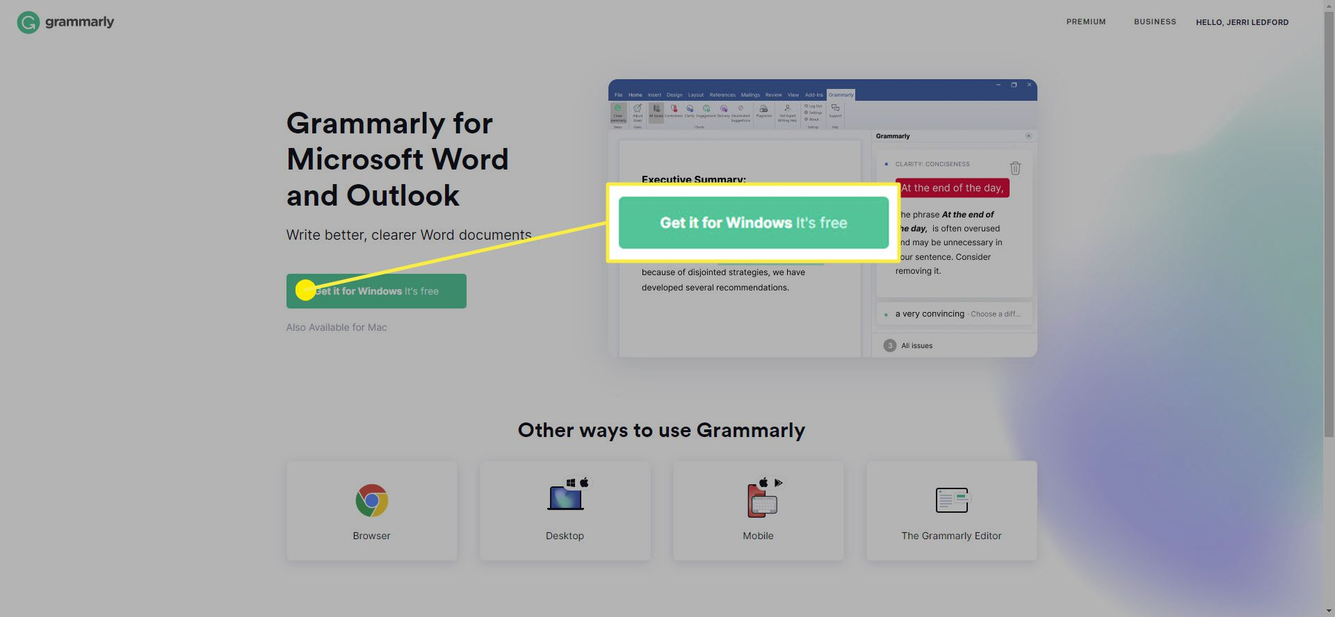 The Grammarly download link.