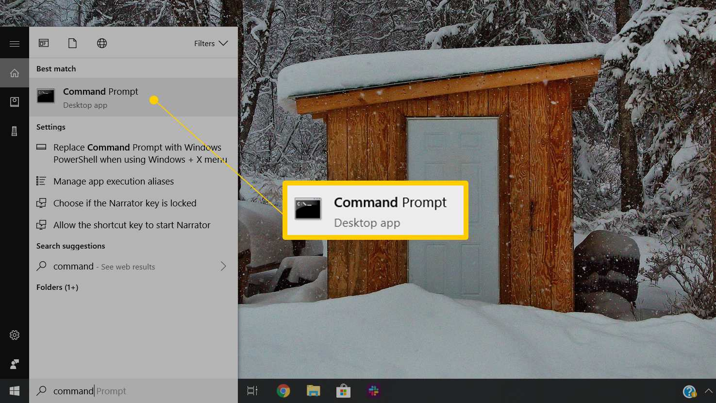 Command Prompt app launch icon in Windows 10