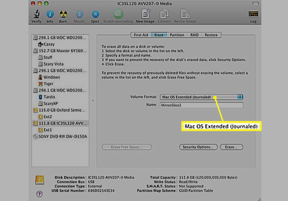 Disk Utility Volume Format with Mac OS Extended (Journaled) selected
