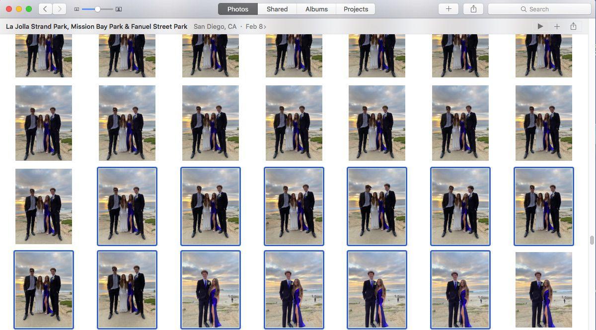 Screenshot of selecting photos to export to new Photos library