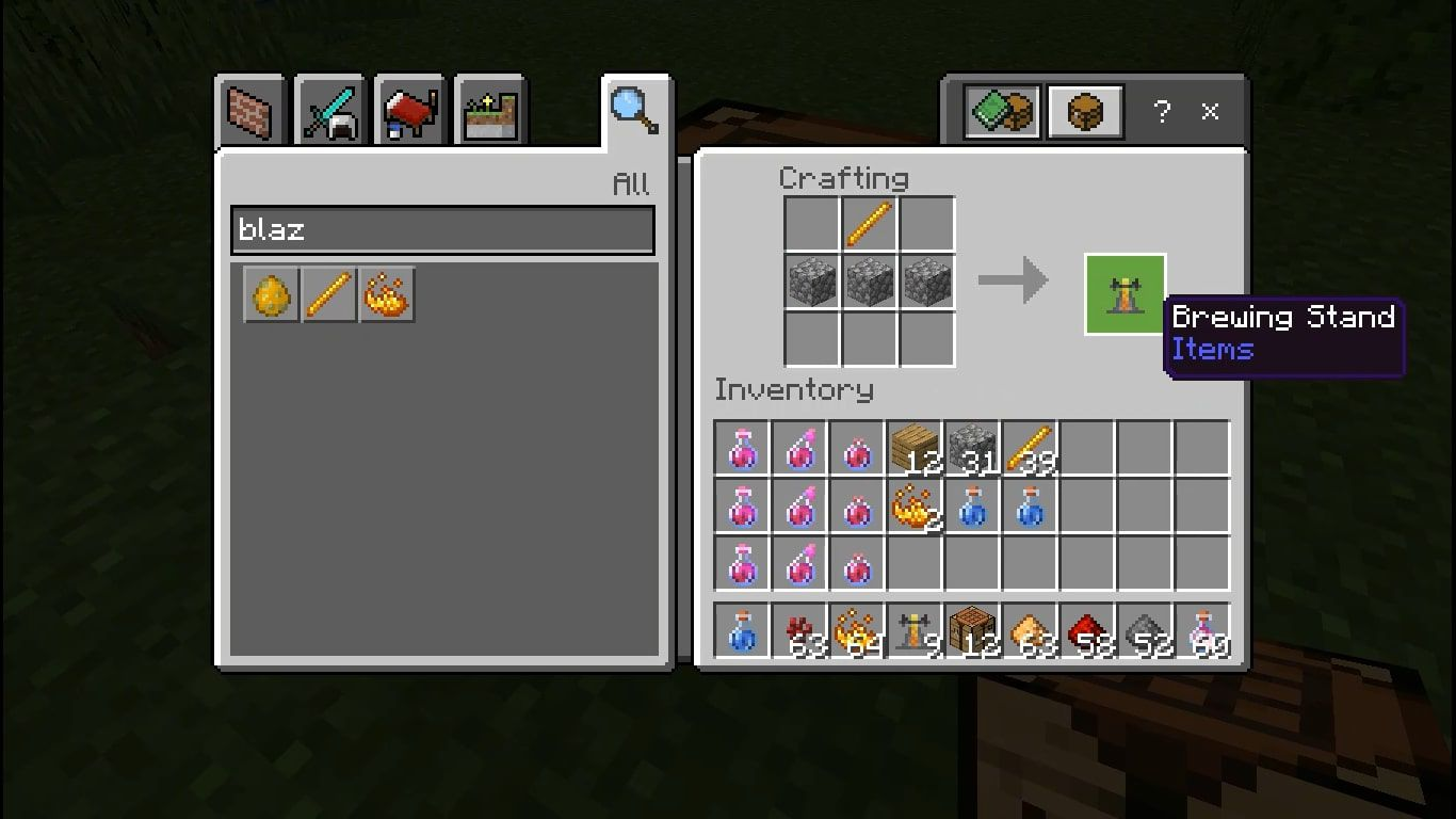 Make a Brewing Stand by adding a Blaze Rod to the middle of the top row and three Cobblestones in the second row.