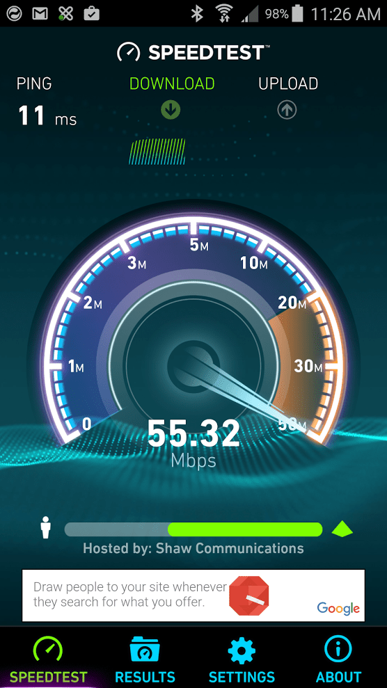 Ookla Android speed test